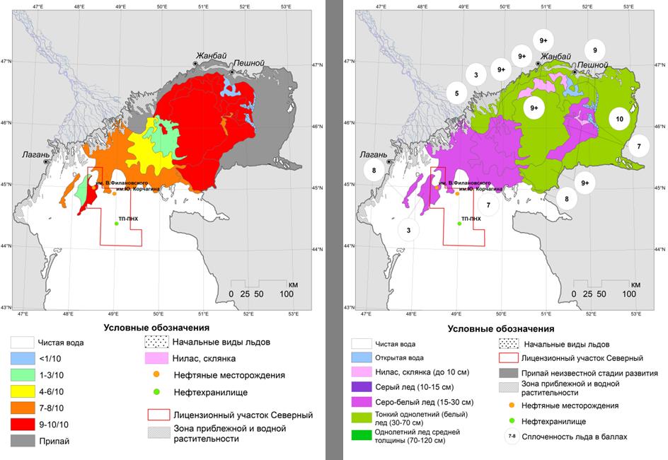 Рис.4. Карта-схема ледовых явлений на Северном Каспии по сплоченности (слева) и по возрасту (справа) на 13-14 марта (© СКАНЭКС, 2018).
