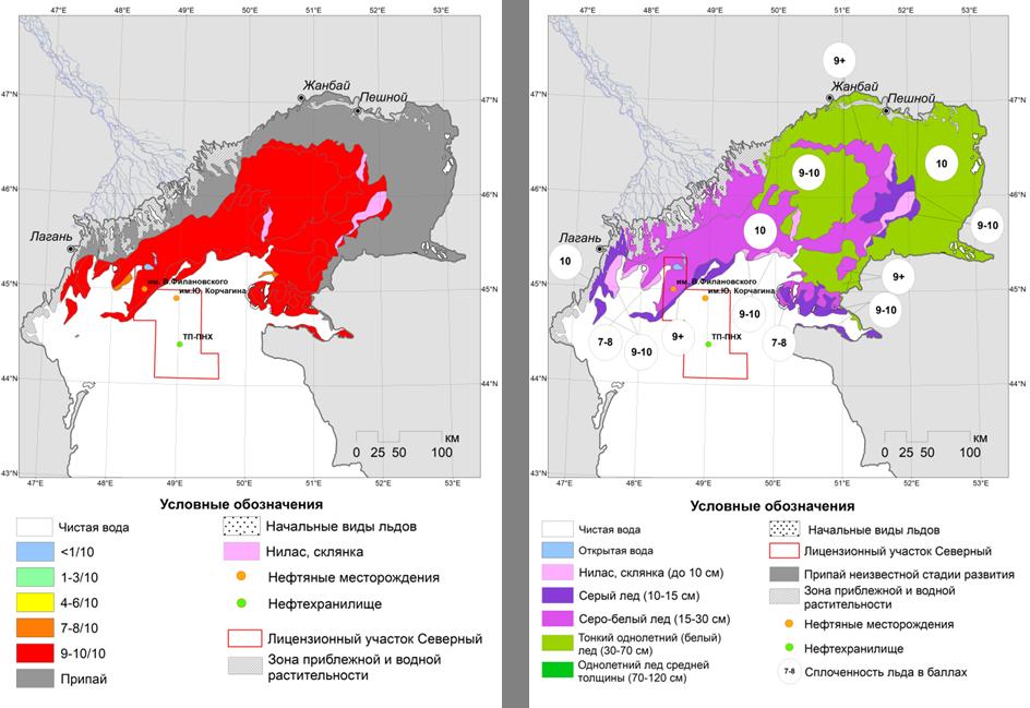 Рис.3. Карта-схема ледовых явлений на Северном Каспии по сплоченности (слева) и по возрасту (справа) на 24 февраля (© СКАНЭКС, 2018).