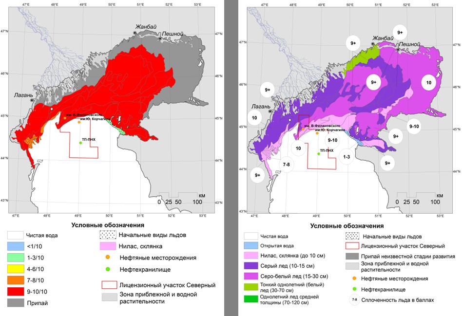 Рис.2. Карта-схема ледовых явлений на Северном Каспии по сплоченности (слева) и по возрасту (справа) на 29-31 января (© СКАНЭКС, 2018).