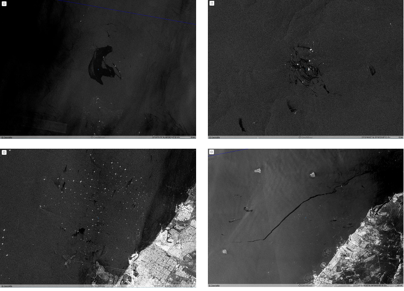Рис 2б. Примеры типичных разливов обнаруженных на радиолокационных изображениях: 1) крупный разлив в месте нефтедобычи (иранский сектор, меторождение Aboozar) 26.03.2017; 2) разливы в месте нефтодычи (иранский сектор, месторождение Salman) 26.03.2017; 3) многочисленные судовые разливы на рейде Дубая (ОАЭ) 10.05.2017; 4)крупный судовой разлив длиной 154 км, произведенный в дневное время, напротив побережья ОАЭ 10.10.2017. ©ESA