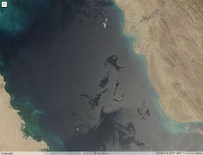 Рис. 2а. Аномально крупные разливы нефти в Персидском заливе на оптическом снимке спектрорадиометра MODIS на ИСЗ Terra От 14.05.2017 в 07:25 UTC ©NASA GSFC