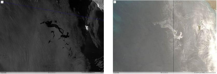 Рис. 2г. Аномально крупный разлив в месте нефтедобычи (иранский сектор, месторождение Aboozar) от 6.06.2017: на РЛИ Sentinel-1A в 02:38 UTC и оптимечском снимке MODIS Terra в 07:30 UTC. ©ESA, NASA GSFC