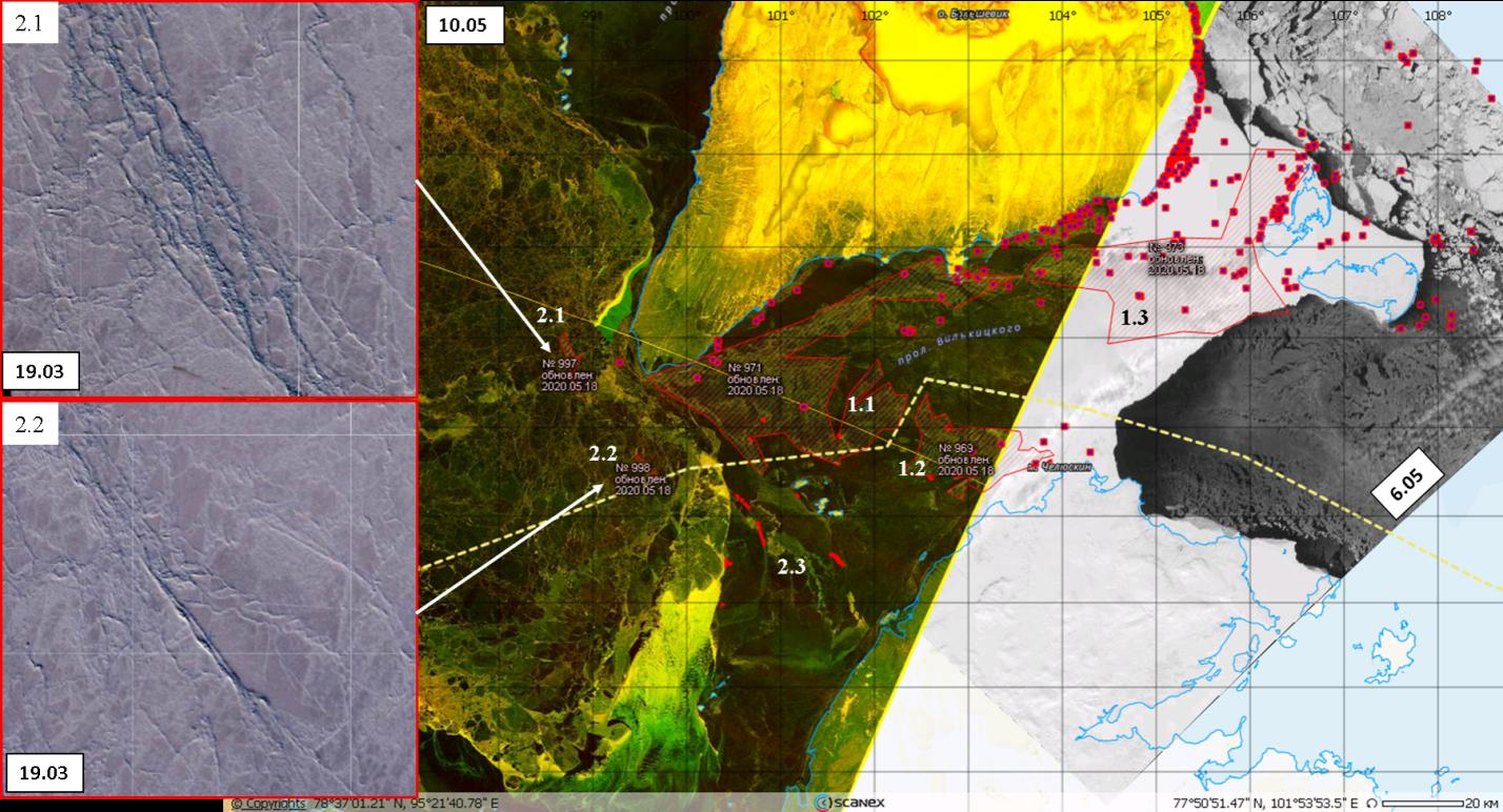 Рис.6. Опасные ледяные образования и потенциально тяжелые районы в проливе Вилькицкого (Sentinel-1, EW, HV+ HH).