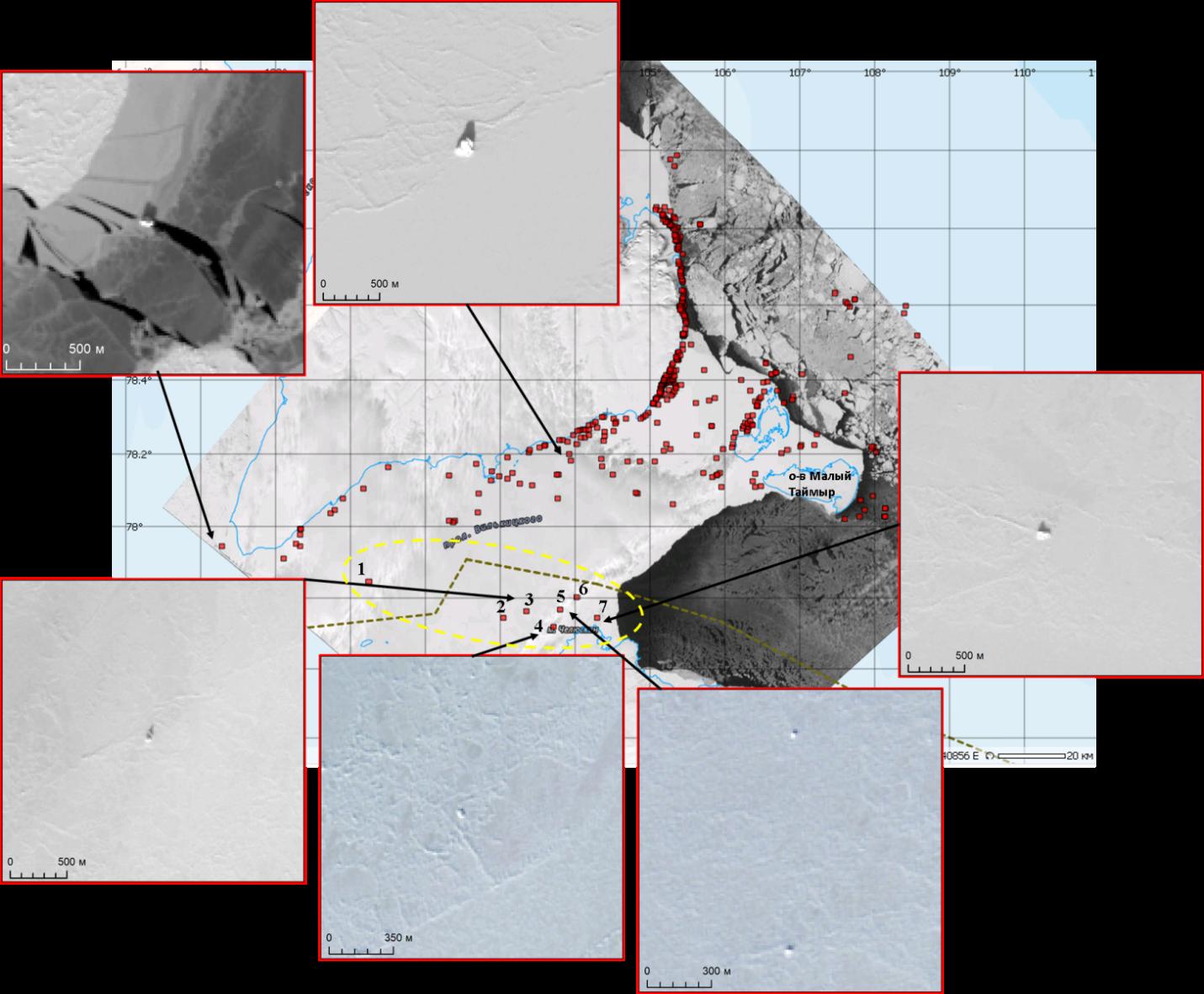 Рис.7. Примеры айсбергов в проливе Вилькицкого и их расположение относительно рекомендованного маршрута.